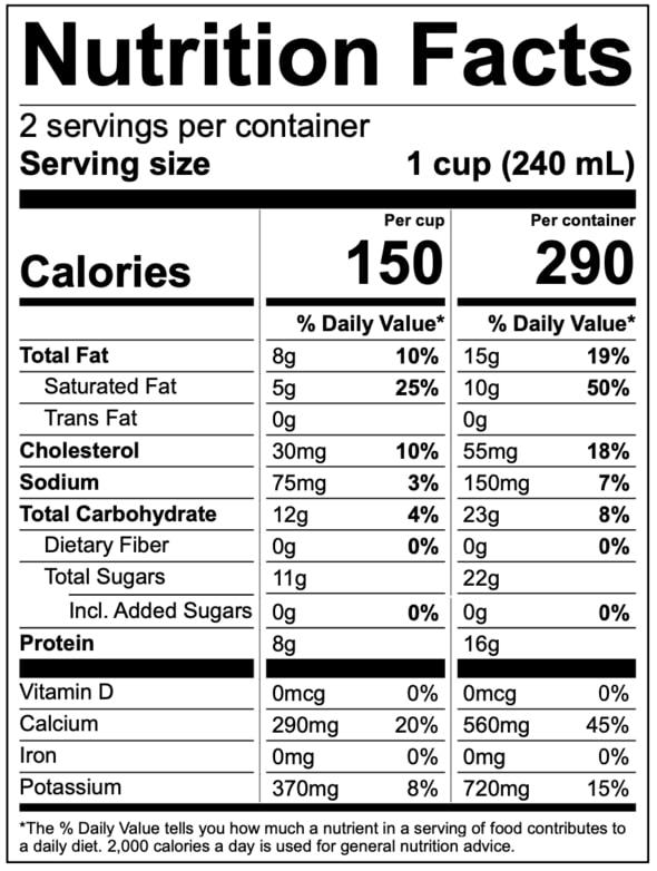 nutritional facts of Vanilla Bean Kefir by Kefir Lab
